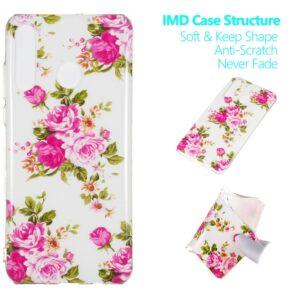 Huawei P30 Lite - Enhjørning gummi cover med print - Lysende blomster