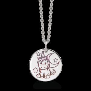 Støvring Design børnehalskæde med enhjørning i sølv